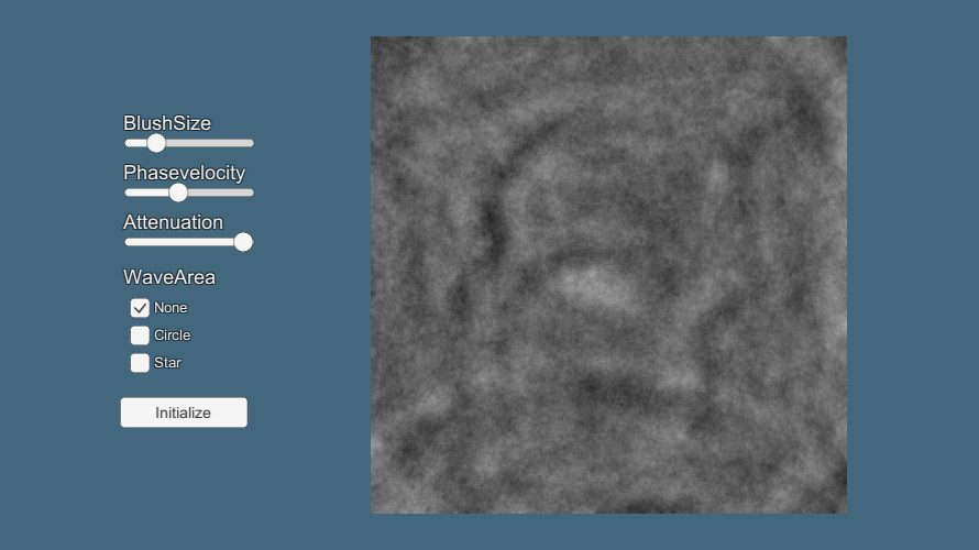 波動方程式を用いた波紋の作成(2019/11/09修正)