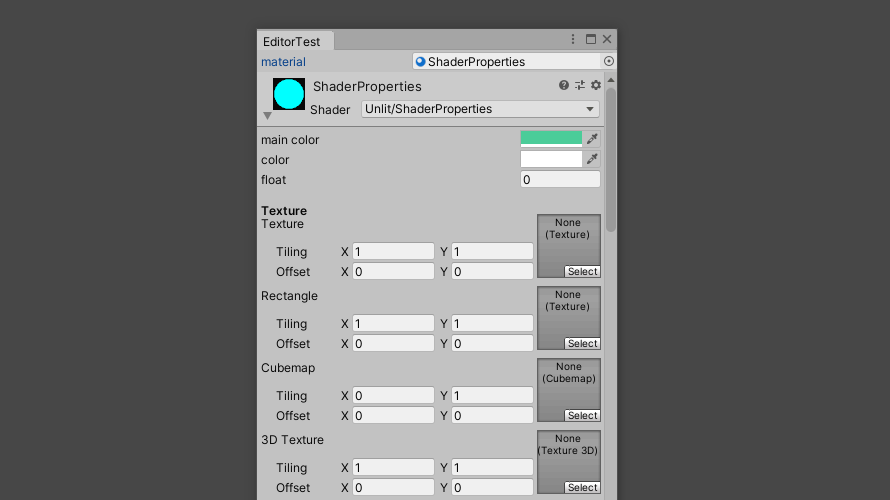 EditorWindowにMaterialEditorを用いてマテリアルプロパティを表示(Editor拡張)